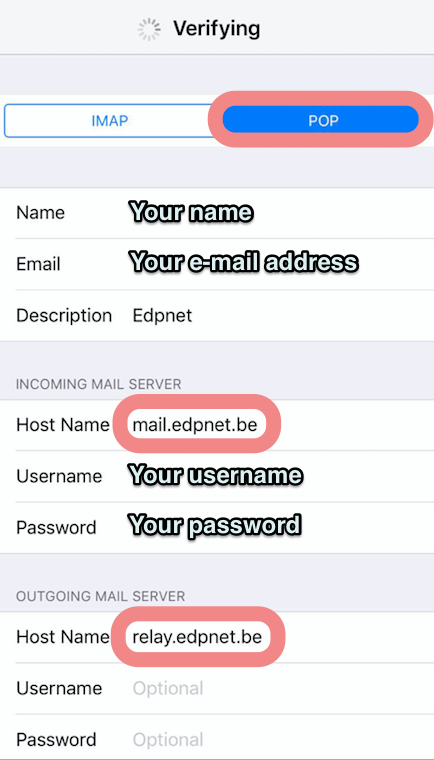 How do I configure my edpnet mail account on an iPhone