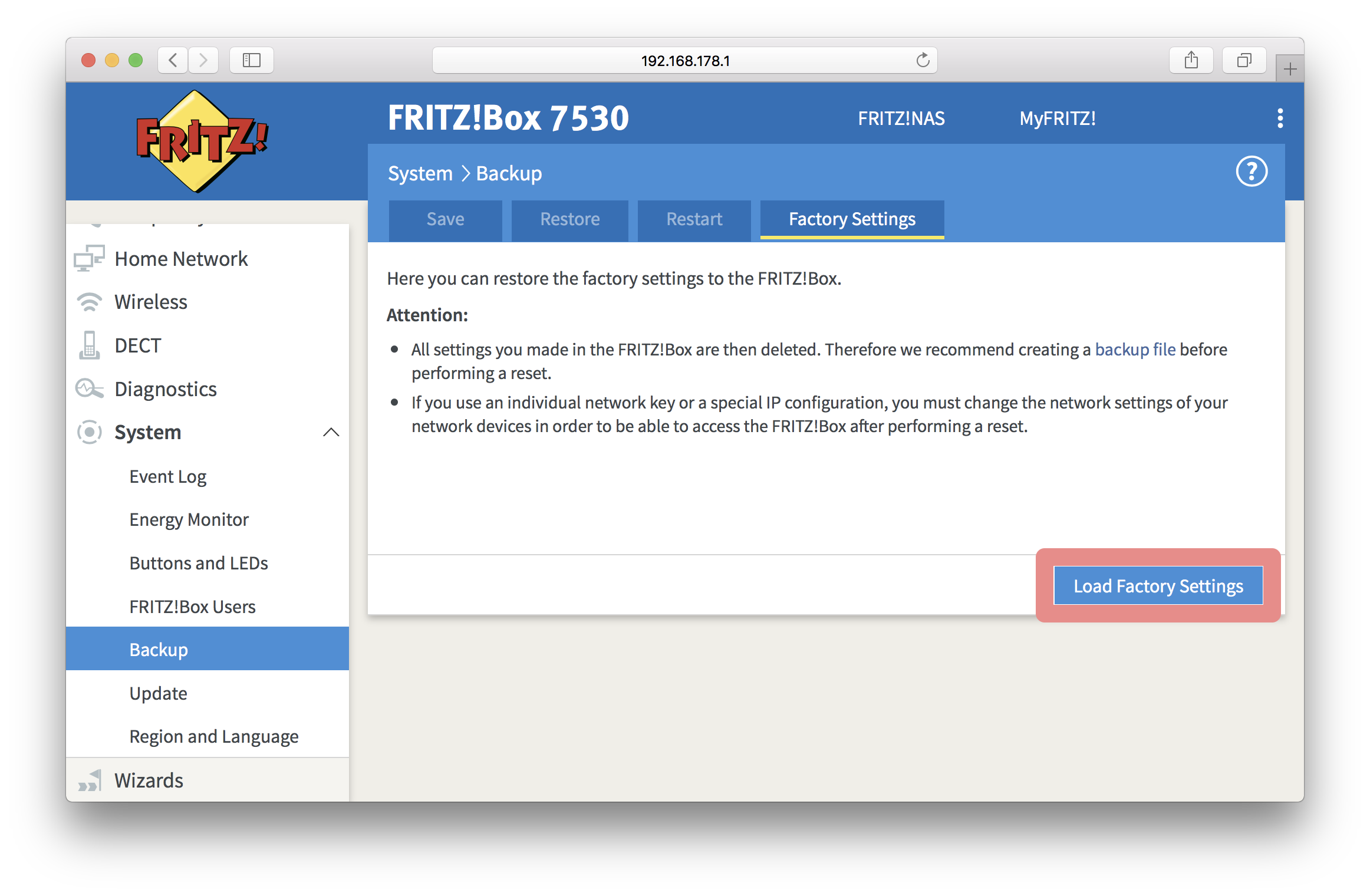 How do I reset my FRITZBox to factory settings