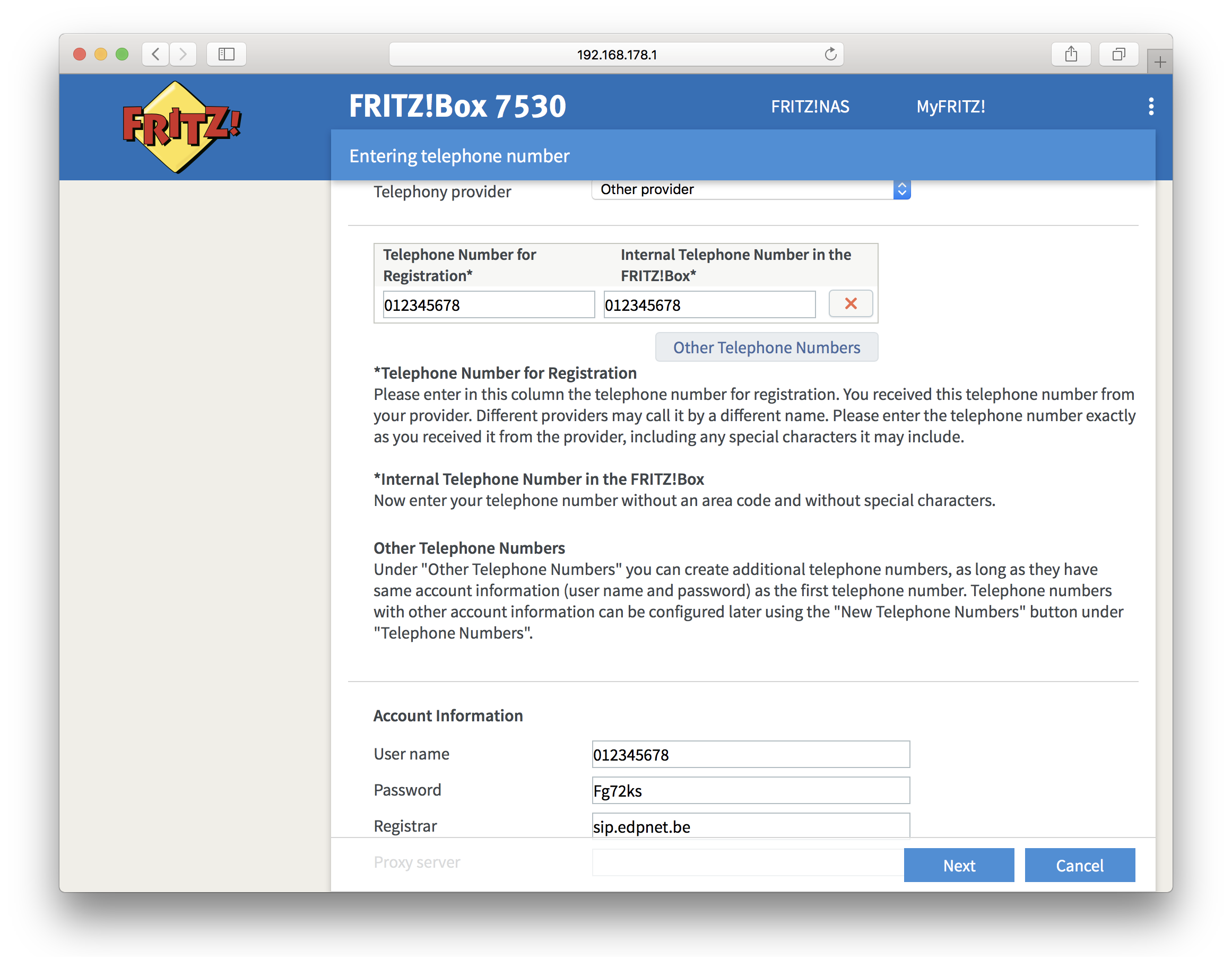 How do I configure edpnet telephony on my FRITZ!Box